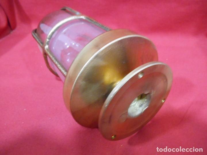 Vintage: ANTIGUA LAMPARA DE BRONCE Y CRISTAL TRANSPARENTE DE BARCO - ORIGINAL NO REPLICA - - Foto 3 - 87252132