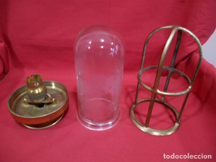 Vintage: ANTIGUA LAMPARA DE BRONCE Y CRISTAL TRANSPARENTE DE BARCO - ORIGINAL NO REPLICA - - Foto 4 - 87252132