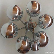 Vintage: LAMPARA DE TECHO ESPACIAL CROMADA SEIS BRAZOS GLOBOS CROMADOS AÑOS 60 SPACE AGE CHANDELIER. Lote 87670604
