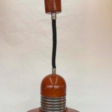 Vintage: LAMPARA TECHO SUSPENSION CON DISPOSITIVO DE ALTURA EXTENSIBLE EN ACERO ESMALTADO Y CROMO AÑOS 70. Lote 87676564
