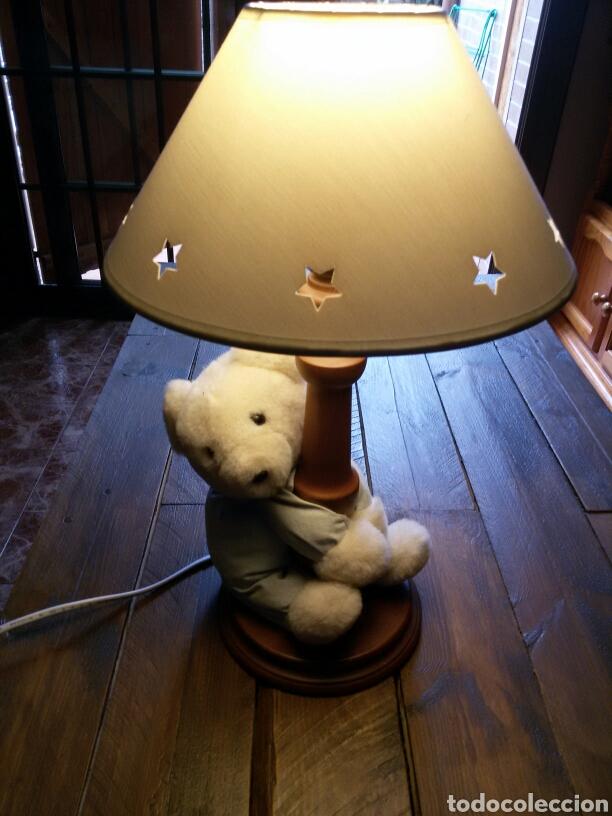 LAMPARA INFANTIL OSITO PIE MADERA (Vintage - Lámparas, Apliques, Candelabros y Faroles)