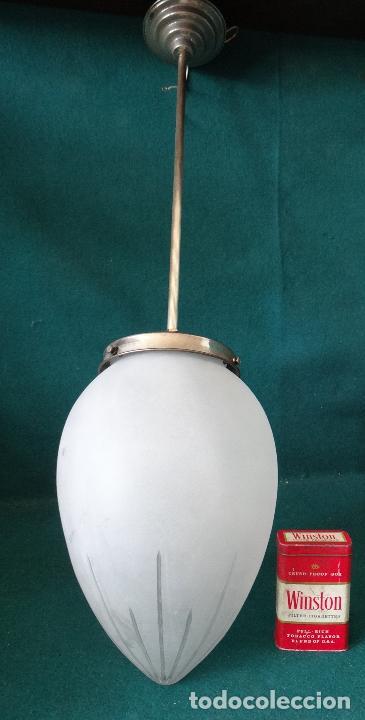 Vintage: LAMPARA VINTAGE. ART DECO.. TULIPA GLOBO ESMERILADO TALLADO. FUNCIONAMIENTO. - Foto 3 - 89250708
