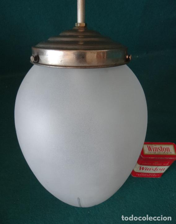 Vintage: LAMPARA VINTAGE. ART DECO.. TULIPA GLOBO ESMERILADO TALLADO. FUNCIONAMIENTO. - Foto 10 - 89250708