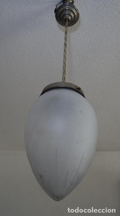 Vintage: LAMPARA VINTAGE. ART DECO.. TULIPA GLOBO ESMERILADO TALLADO. FUNCIONAMIENTO. - Foto 11 - 89250708