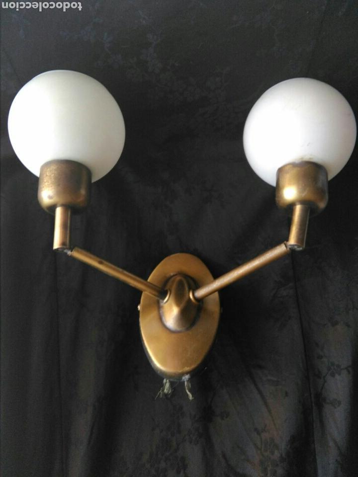 LAMPARA VINTAGE AÑOS 70 EN LATON APLIQUE DE DOS LUCES ARTICULABLES DECORACIÓN INDUSTRIAL ROCKABILLY (Vintage - Lámparas, Apliques, Candelabros y Faroles)