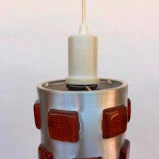 Vintage: EXCEPCIONAL LAMPARA SUSPENSION TECHO EN ACERO Y CRISTAL FUTURISTA SPACE AGE SUECIA AÑOS 60 ESPACIAL. Lote 89516720