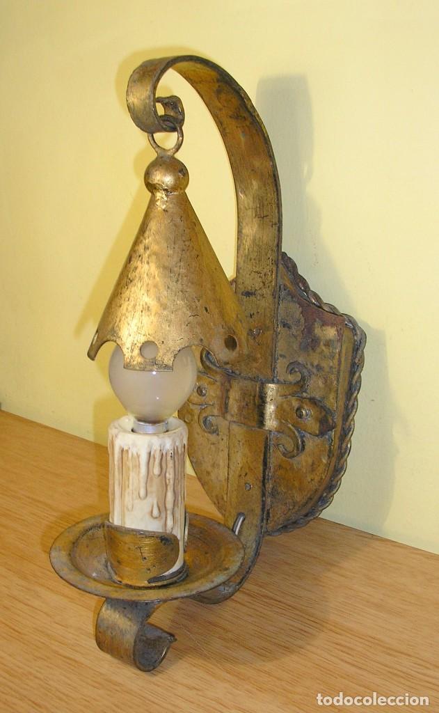 Aplique de pared en hierro forjado comprar l mparas for Faroles en hierro forjado para jardin
