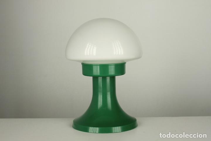 LAMPARA SOBREMESA SETA QUIEL GLOBO CRISTAL PLASTICO VERDE VINTAGE RETRO VALENCIA 60'S (Vintage - Lámparas, Apliques, Candelabros y Faroles)