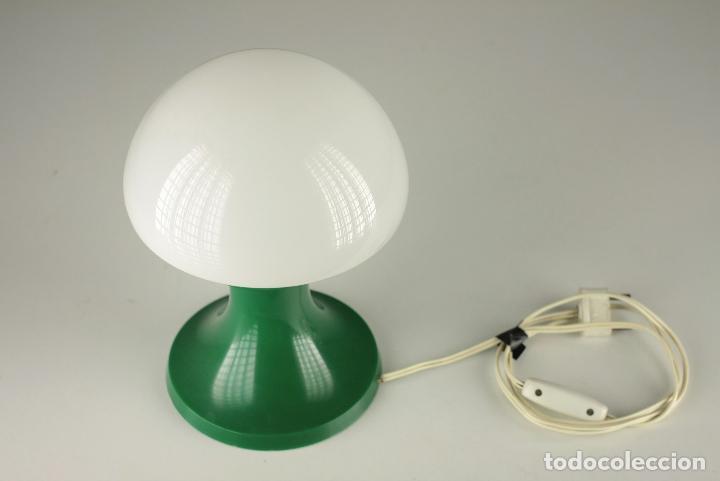 Vintage: lampara sobremesa seta QUIEL globo cristal plastico verde vintage retro Valencia 60's - Foto 2 - 90700495