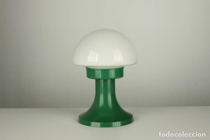 Vintage: lampara sobremesa seta QUIEL globo cristal plastico verde vintage retro Valencia 60's - Foto 4 - 90700495