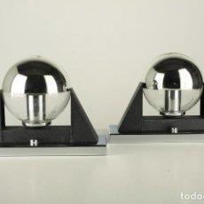 Vintage: 2 LAMPARA SOBREMESA METAL CROMADO NEGRO VINTAGE RETRO SPACE AGE ESPAÑA AÑOS 70. Lote 93024820