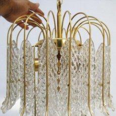 Vintage: PRECIOSA LAMPARA VINTAGE CASCADA CRISTAL MURANO Y METAL DORADO. Lote 93142665