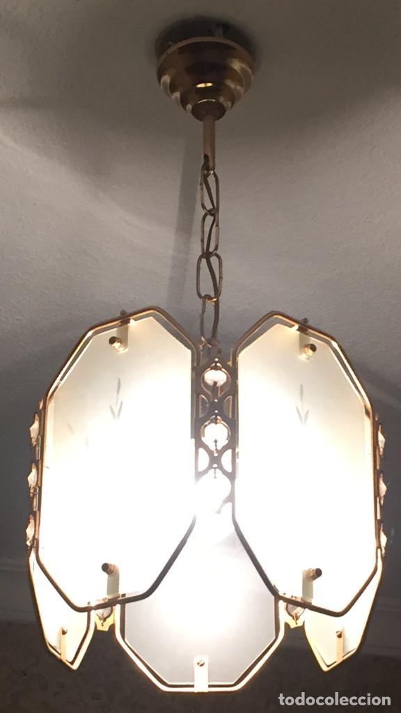 LAMPARA VINTAGE DE TECHO DE 5 CRISTALES. (Vintage - Lámparas, Apliques, Candelabros y Faroles)