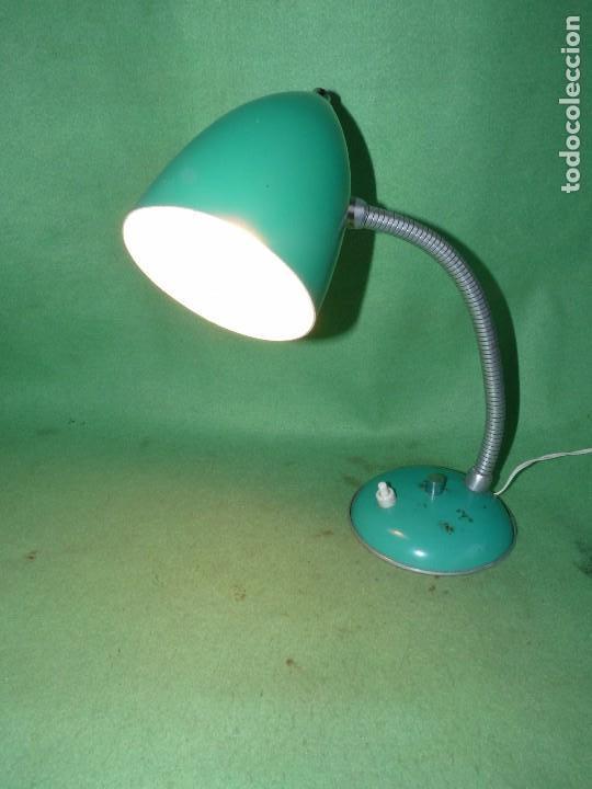 Vintage: BONITO FLEXO LAMPARA VINTAGE SOBREMESA VERDE REVISADO FUNCIONANDO PERFECTO VINTAGE AÑOS 60 - Foto 7 - 93868940