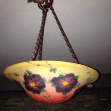 Vintage: PRECIOSA LAMPARA ART DECO CRISTAL PINTADO. Lote 94266975