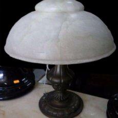 Vintage: LAMPARA SOBREMESA BRONCE Y ALABASTRO. Lote 94479622