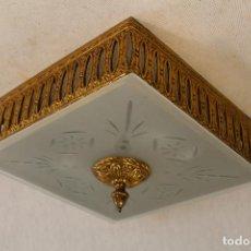 Vintage: LAMPARA DE TECHO PLAFON EN METAL Y CRISTAL. Lote 95328991