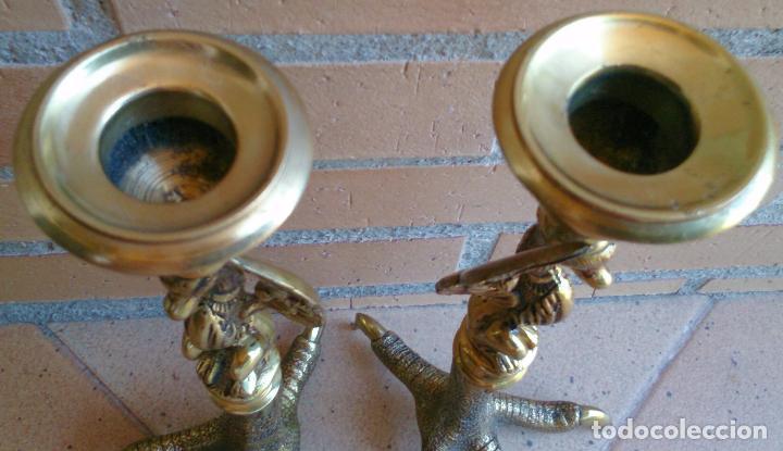 Vintage: Pareja de Candelabros Portavelas de bronce Garras de Águila y Ave Fénix vintage - Foto 4 - 95461559