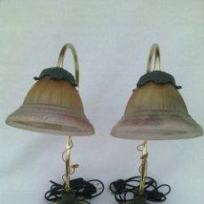 Vintage: PAREJA LAMPARAS LAMPARA SOBREMESA EN CRISTAL Y METAL.VINTAGE.. Lote 95486574