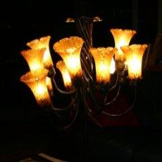 Vintage: LAMPARA ART NOUVEAU 12 BRAZOS CON TULIPAS (TECHO O MESA). Lote 96298523
