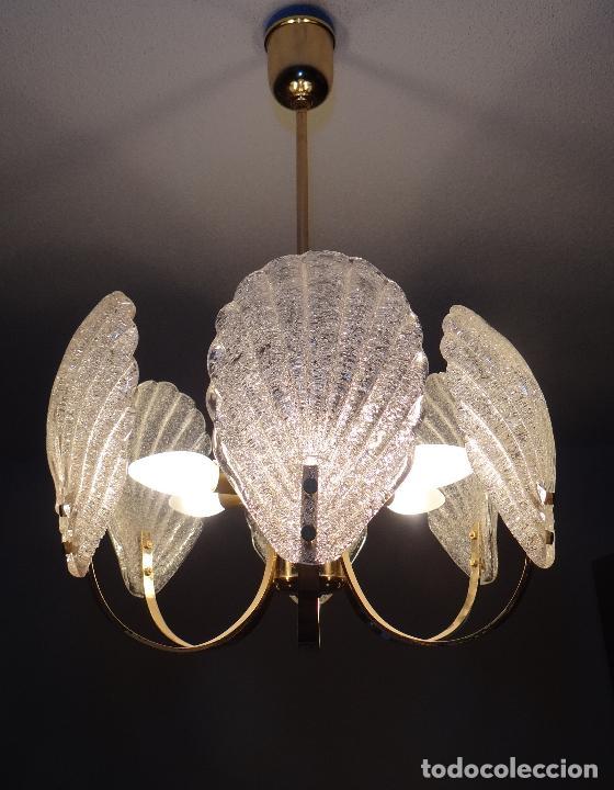 LAMPARA VINTAGE. SEIS LUCES. CARL FAGERLUND. CRISTAL RUGIADO MURANO BAROVIER (Vintage - Lámparas, Apliques, Candelabros y Faroles)