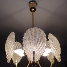 Vintage: LAMPARA VINTAGE. SEIS LUCES. CARL FAGERLUND. CRISTAL RUGIADO MURANO BAROVIER. Lote 121316884