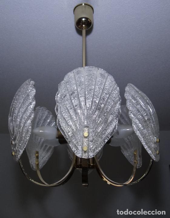 Vintage: LAMPARA VINTAGE. SEIS LUCES. CARL FAGERLUND. CRISTAL RUGIADO MURANO BAROVIER - Foto 2 - 121316884