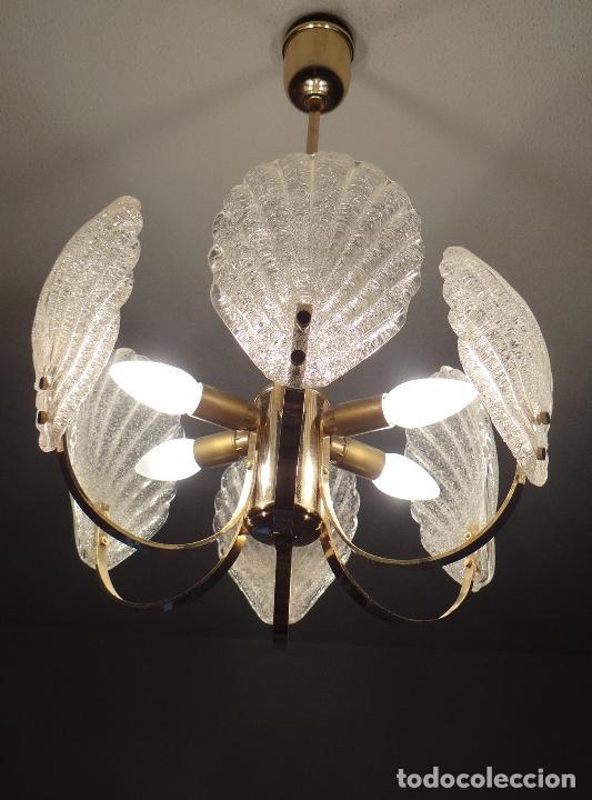 Vintage: LAMPARA VINTAGE. SEIS LUCES. CARL FAGERLUND. CRISTAL RUGIADO MURANO BAROVIER - Foto 3 - 121316884