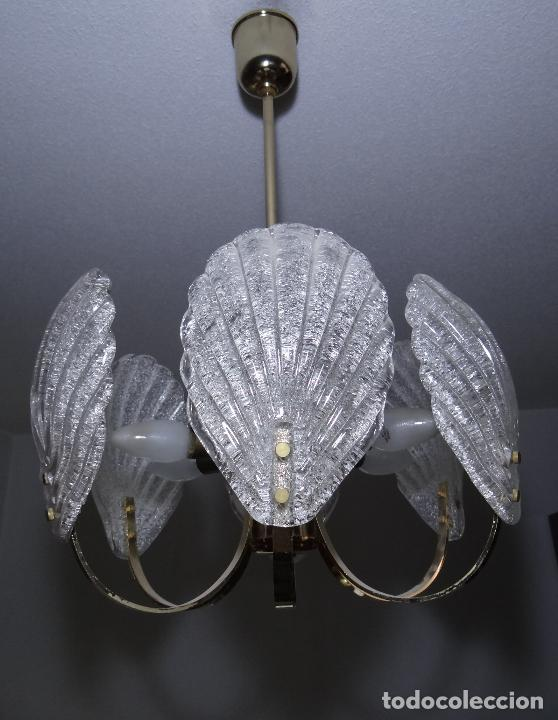Vintage: LAMPARA VINTAGE. SEIS LUCES. CARL FAGERLUND. CRISTAL RUGIADO MURANO BAROVIER - Foto 4 - 121316884