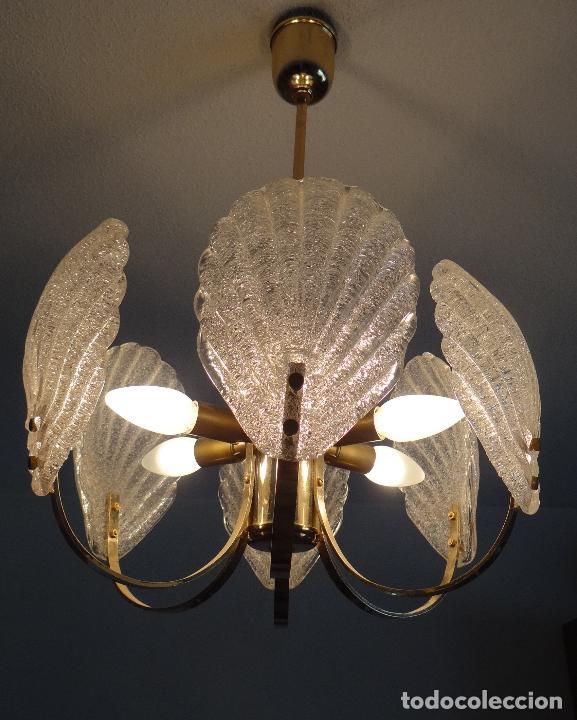 Vintage: LAMPARA VINTAGE. SEIS LUCES. CARL FAGERLUND. CRISTAL RUGIADO MURANO BAROVIER - Foto 8 - 121316884