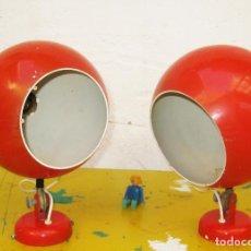Vintage: BONITOS APLIQUES LUPELA MIDCENTURY ESPAÑA ANTIGUOS EYE BALL ROJO POP VINTAGE DECORACION LAMPARA. Lote 98178991
