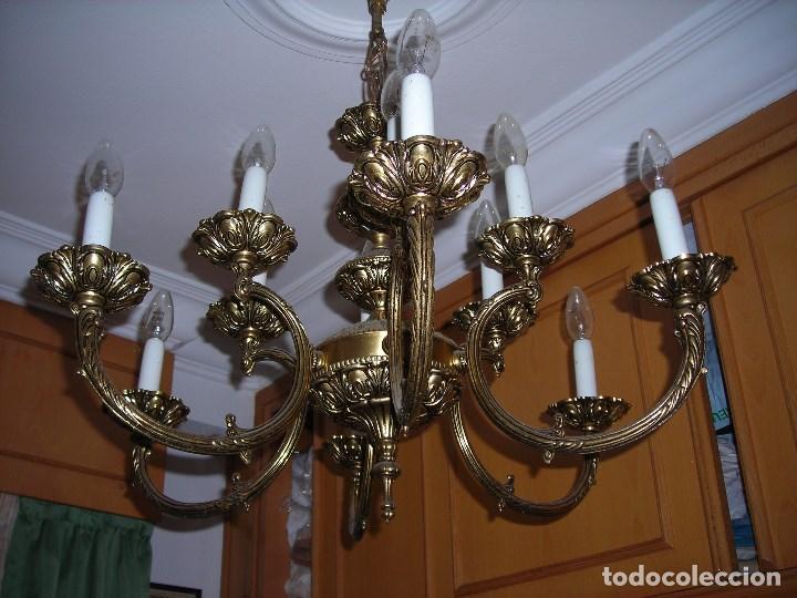 Lampara tipo ara a de bronce macizo dorado 6 comprar l mparas vintage apliques - Lamparas de arana segunda mano ...