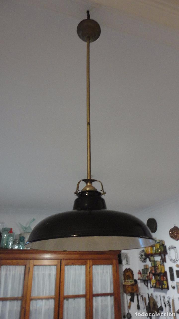 Vintage: ANTIGUA LAMPARA TULIPA METAL ESMALTADO.RETRO VINTAGE INDUSTRIAL.AÑOS 30,40 - Foto 2 - 99251503