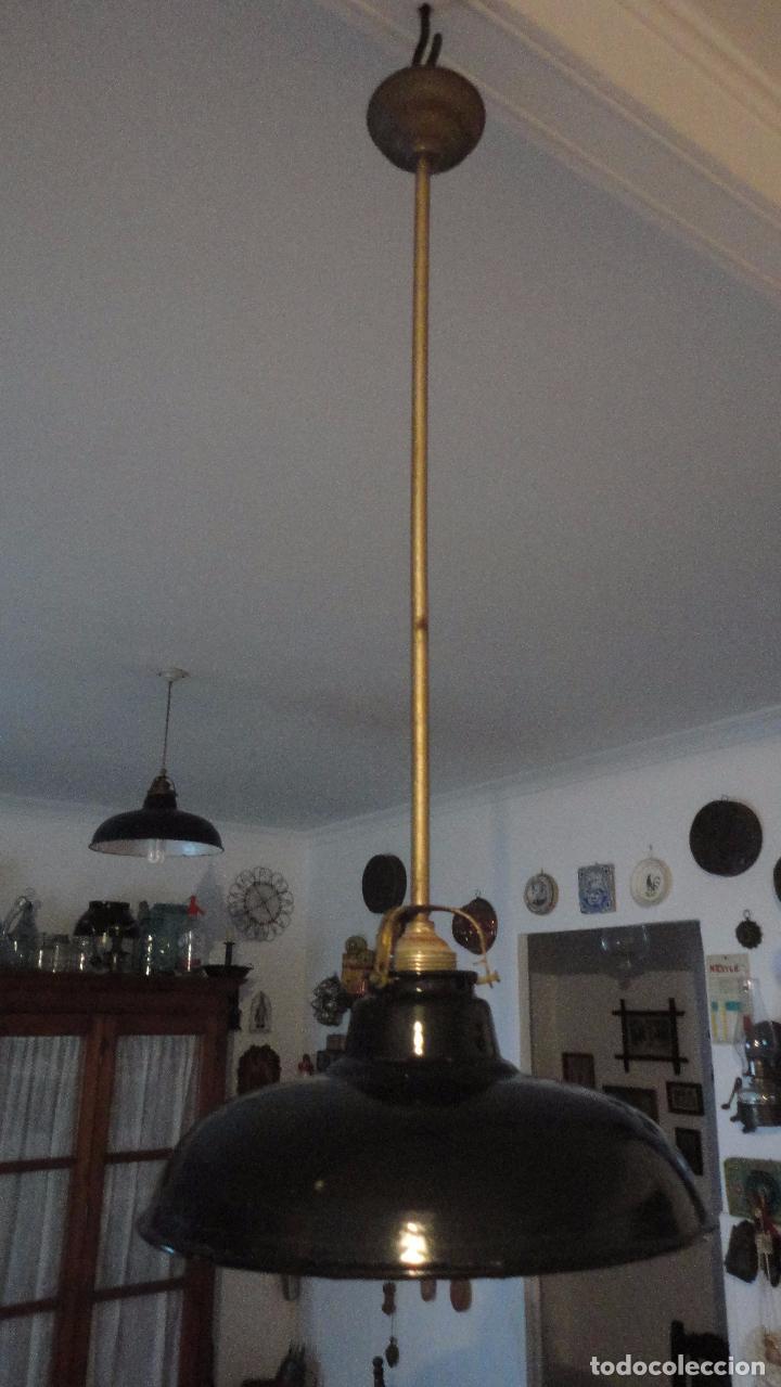 Vintage: ANTIGUA LAMPARA TULIPA METAL ESMALTADO.RETRO VINTAGE INDUSTRIAL.AÑOS 30,40 - Foto 4 - 99251503