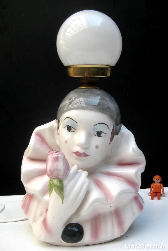 Vintage: LAMPARA CERAMICA VINTAGE ARLEQUIN CON ROSA - Foto 2 - 99873051