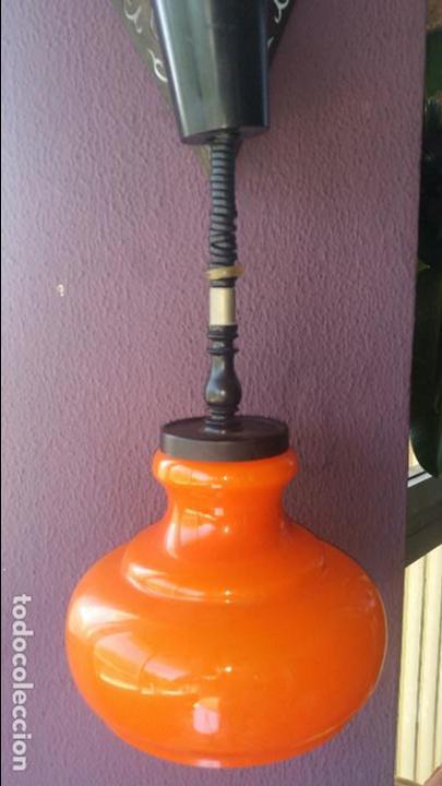 LÁMPARA TECHO OPALINA NARANJA VINTAGE. AÑOS 60-70 (Vintage - Lámparas, Apliques, Candelabros y Faroles)
