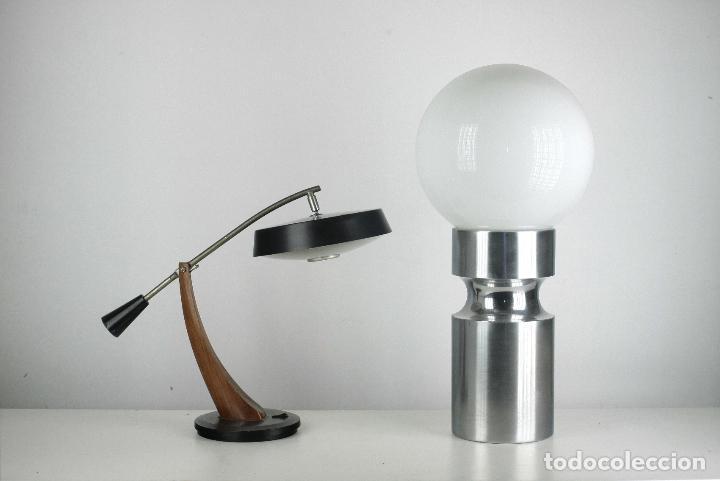 LAMPARA XL SOBREMESA PIE METAL CROMADO OPALINA RETRO SPACE AGE ESPAÑA 70'S (Vintage - Lámparas, Apliques, Candelabros y Faroles)