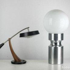 Vintage: LAMPARA XL SOBREMESA PIE METAL CROMADO OPALINA RETRO SPACE AGE ESPAÑA 70'S. Lote 98389075