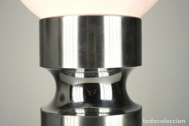 Vintage: lampara XL sobremesa pie metal cromado opalina retro space age España 70's - Foto 3 - 98389075