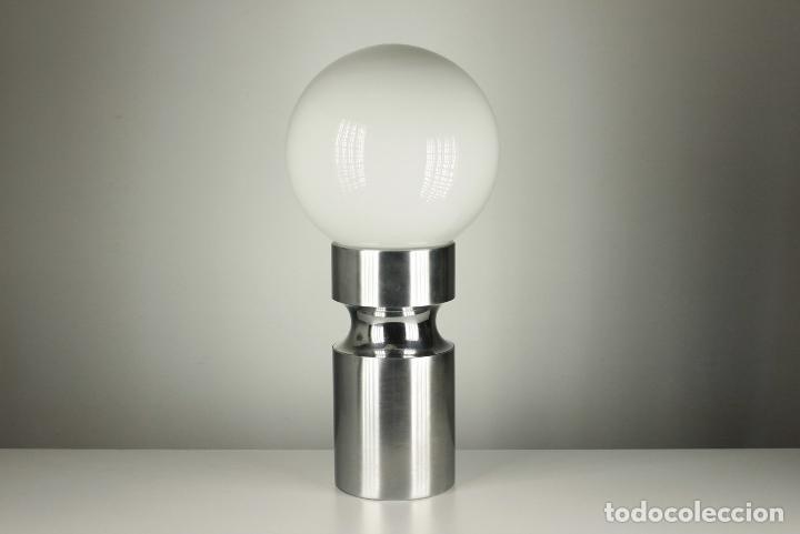 Vintage: lampara XL sobremesa pie metal cromado opalina retro space age España 70's - Foto 5 - 98389075