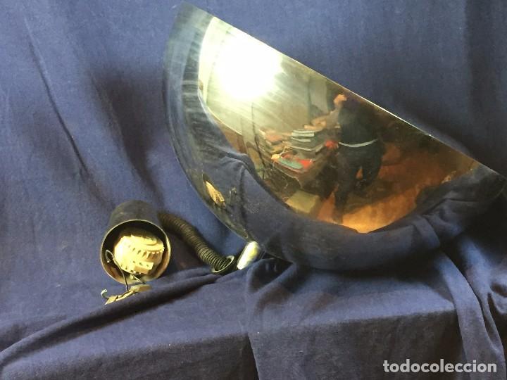 LAMPARA TECHO LATON PLATEADO SEMIESFERA ERA ESPACIAL FRATELLI GIANNELLI FIRENZE ITALIA SUBE BAJA (Vintage - Lámparas, Apliques, Candelabros y Faroles)