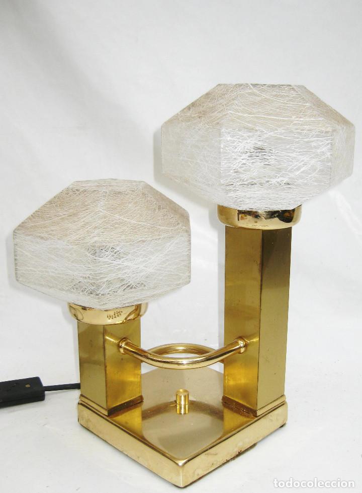 LAMPARA VINTAGE LATON DORADO Y CRISTAL MURANO CUBIC DESIGN BY GAETANO SCIOLARI (Vintage - Lámparas, Apliques, Candelabros y Faroles)