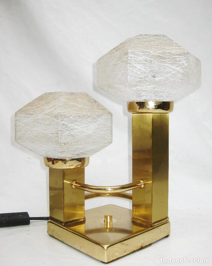 Vintage: LAMPARA VINTAGE LATON DORADO Y CRISTAL MURANO CUBIC DESIGN BY GAETANO SCIOLARI - Foto 3 - 101219059