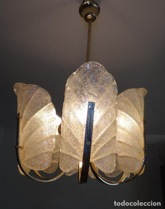LAMPARA VINTAGE. SEIS LUCES. CARL FAGERLUND. ORREFORS. CHANDELIER GLASS MURANO BAROVIER (Vintage - Lámparas, Apliques, Candelabros y Faroles)