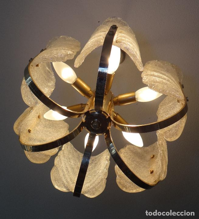 Vintage: LAMPARA VINTAGE. SEIS LUCES. CARL FAGERLUND. ORREFORS. CHANDELIER GLASS MURANO BAROVIER - Foto 4 - 101637491