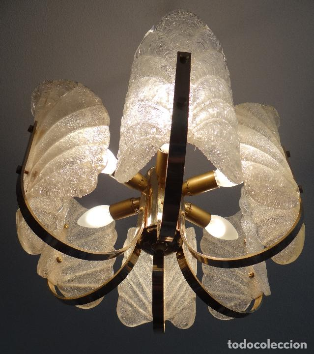 Vintage: LAMPARA VINTAGE. SEIS LUCES. CARL FAGERLUND. ORREFORS. CHANDELIER GLASS MURANO BAROVIER - Foto 5 - 101637491