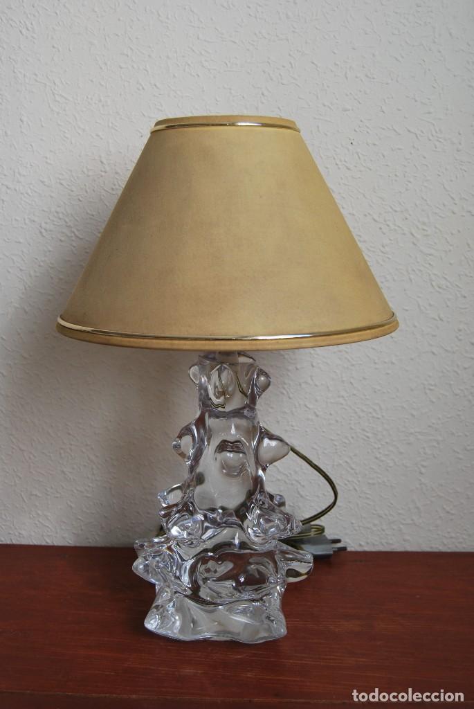 PRECIOSA LÁMPARA DE SOBREMESA DE CRISTAL SCHNEIDER - FRANCIA - AÑOS 50 (Vintage - Lámparas, Apliques, Candelabros y Faroles)