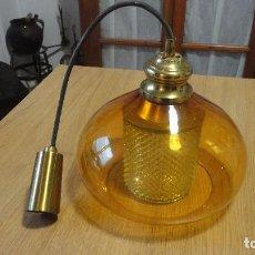 Vintage: ANTIGUA LAMPARA DE DISEÑO CON DOBLE TULIPA CRISTAL.RETRO VINTAGE.AÑOS 50.60. Lote 101785763