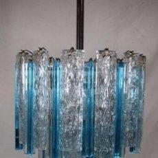 Vintage: LAMPARA VINTAGE AÑOS 50 60 VENINI TRIEDRO CRISTAL DE MURANO CHANDELIER ALTA DECORACIÓN. Lote 101975959