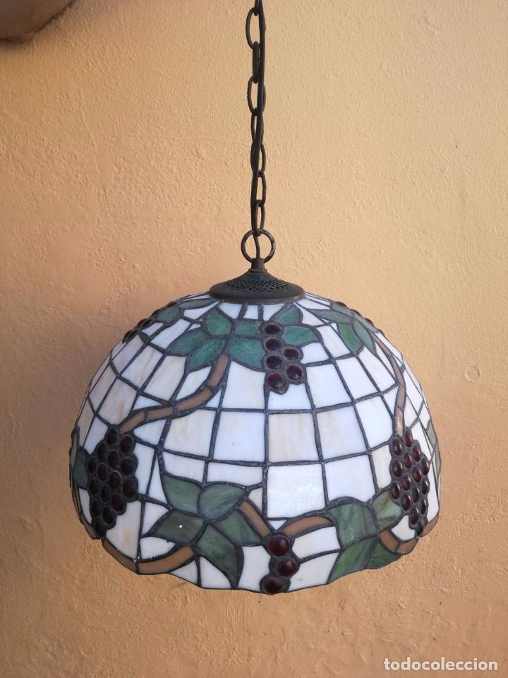 LÁMPARA ESTILO TIFFANY PARRA VID RACIMOS UVAS TECHO (Vintage - Lámparas, Apliques, Candelabros y Faroles)